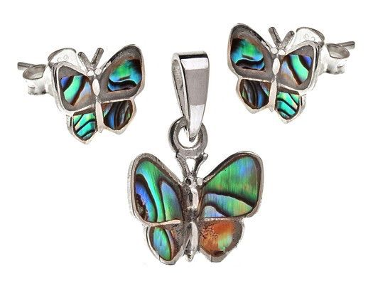 925 Sterling Silver Abalone Paua Shell Butterfly Shaped
