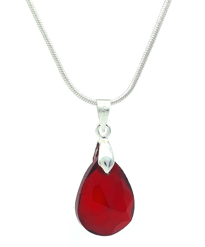 Deep red crystal glass teardrop cut drop pendant necklace aloadofball Image collections