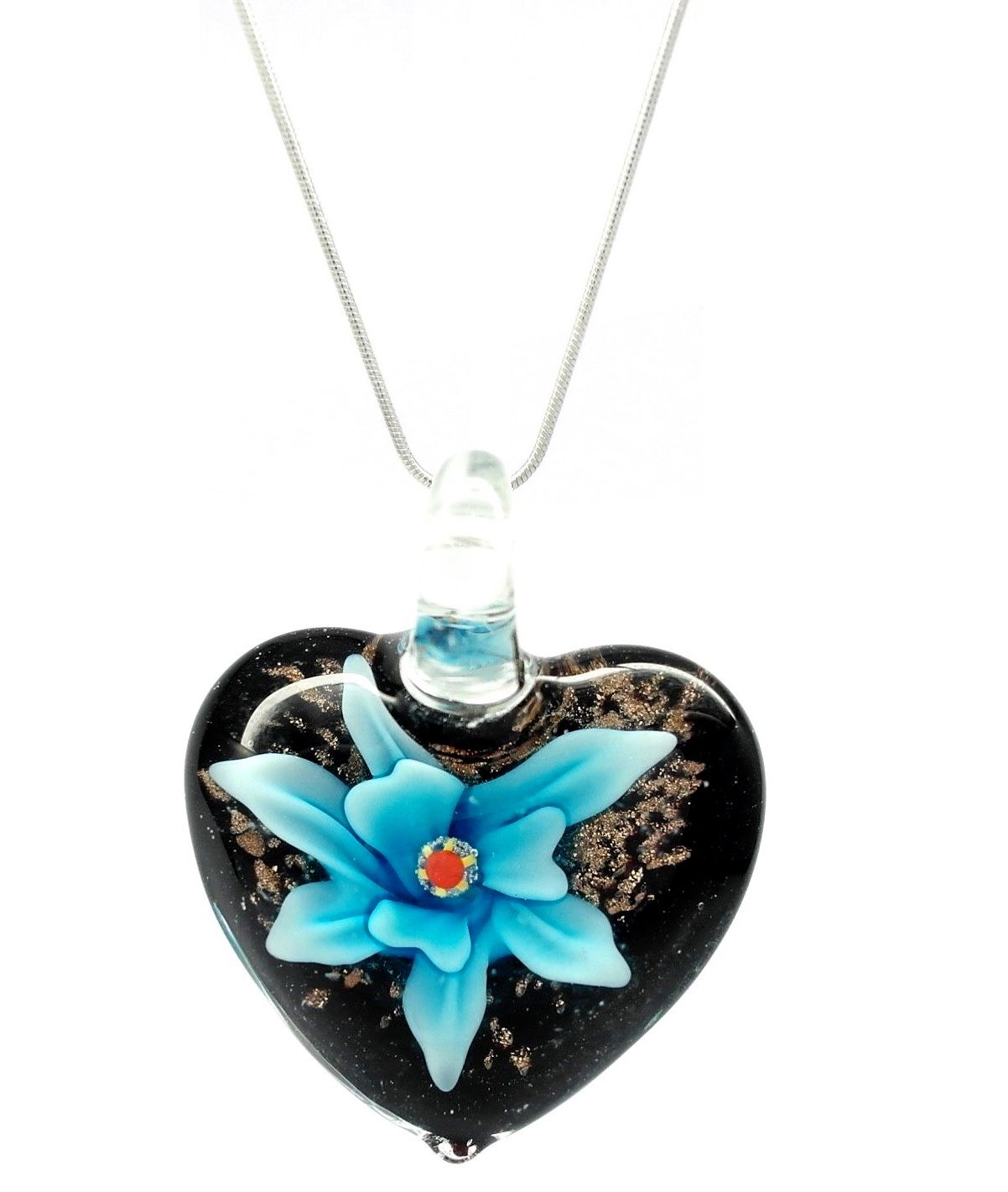 silver products sand blue beach bead the with w glass studio charm necklace shell sterling c light