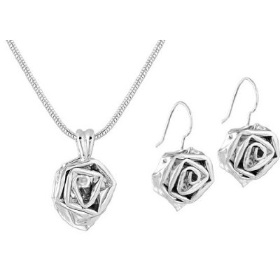 Handmade Artistic Blooming Rose Flower Shaped Earrings Necklace Set Unique Gift Idea 9302 P