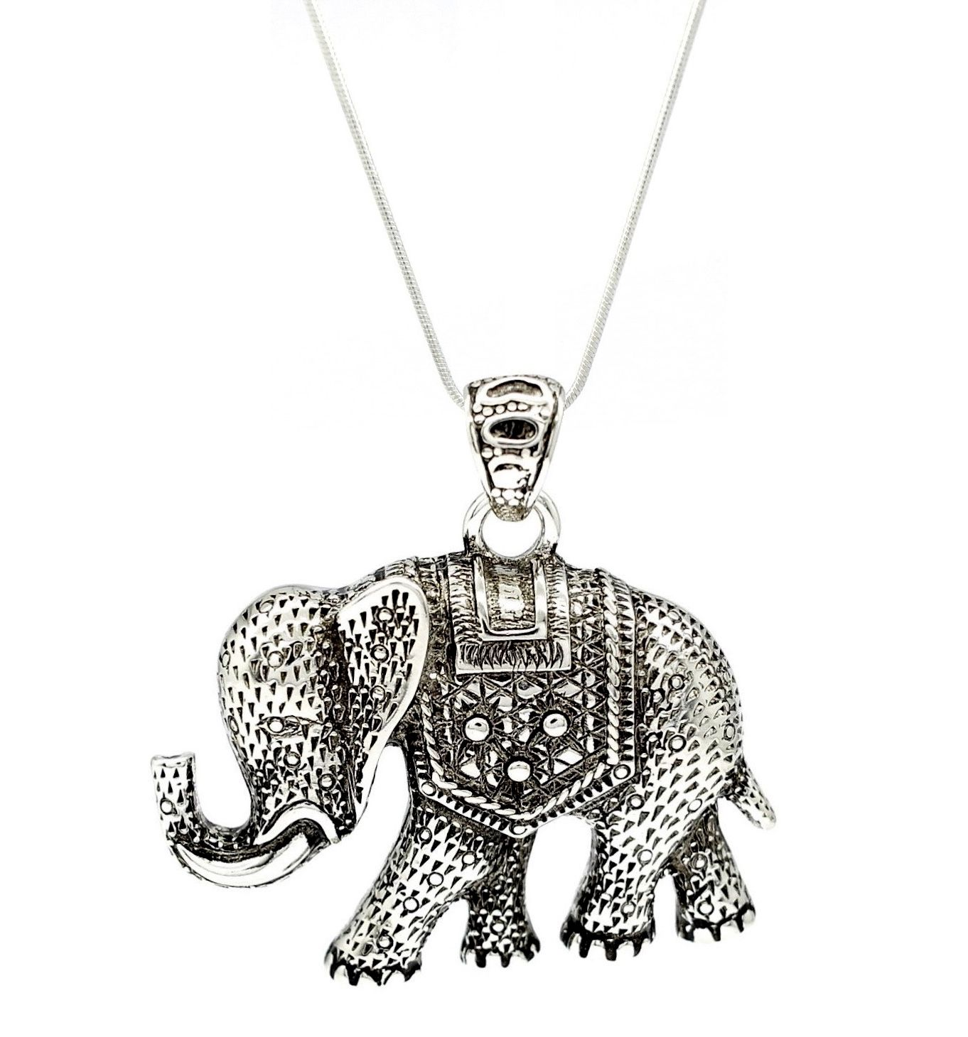 pendant animal elephant necklace statement large in dotoly silver products
