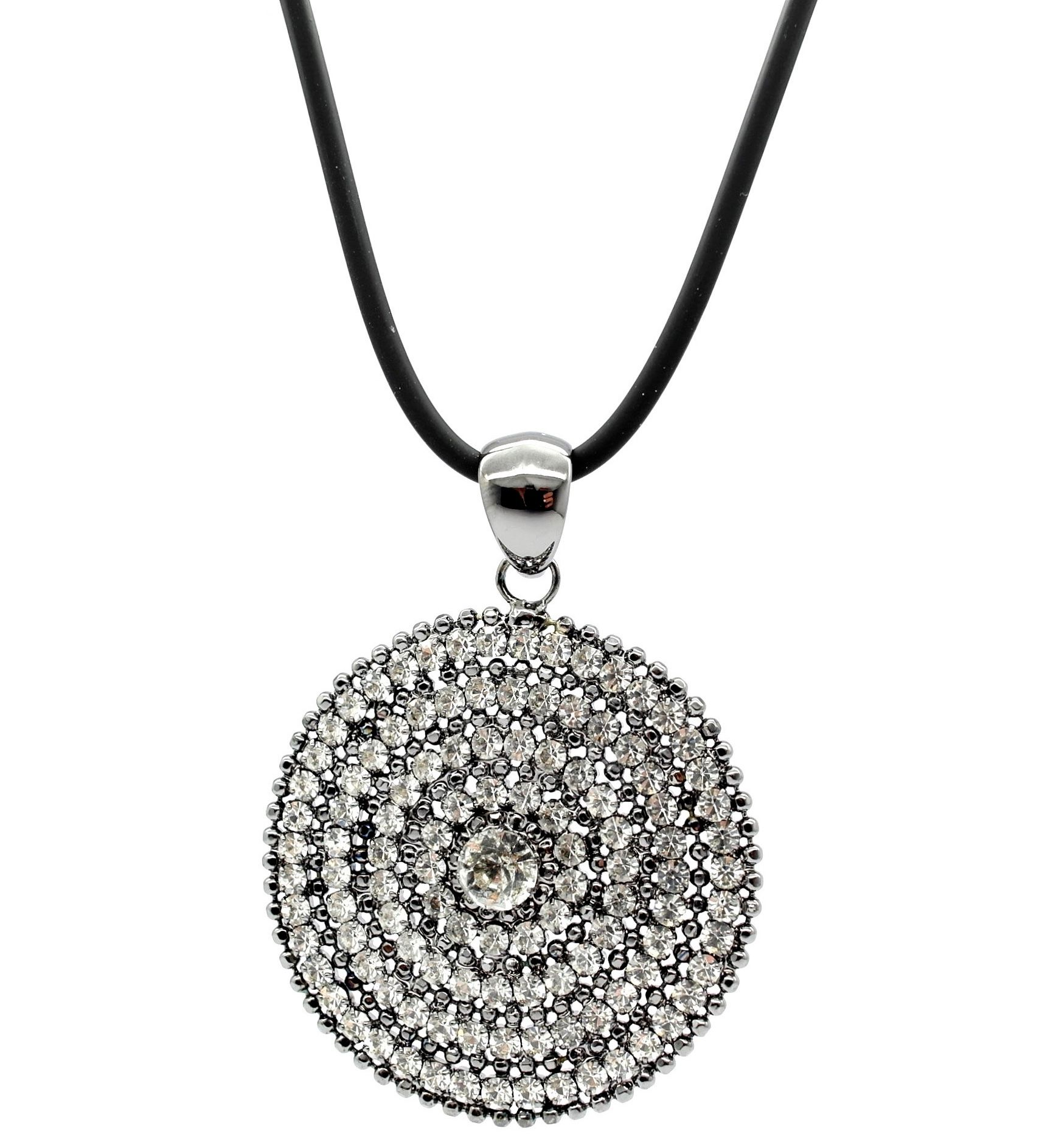 Large oversized hematite clear swarovski crystals circle necklace large oversized hematite clear swarovski crystals circle necklace pendant aloadofball Image collections