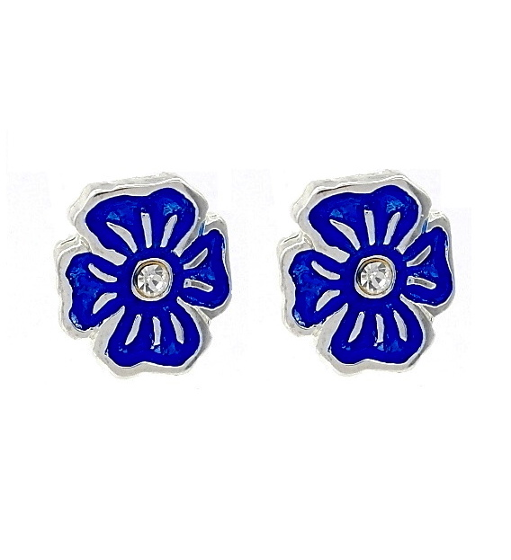 Navy Blue Enamel Pansy Flower Stud Earrings tPXS68n