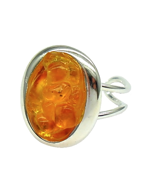 Oval shaped amber stone cocktail ring adjustable for Amber stone wedding ring