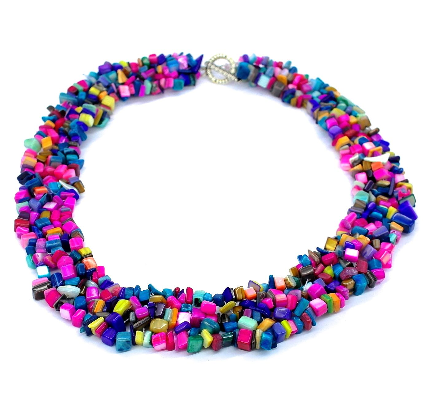 Rainbow Colourful Mother Of Pearl Shell Chip Collar Necklace