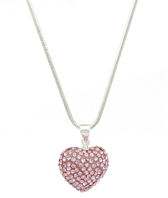 Shimla crystal pink diamante heart shaped pendant necklace aloadofball Image collections