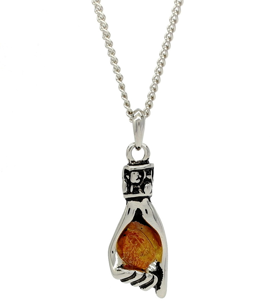 Unique Helping Hand Shaped Amber Stone Pendant Necklace