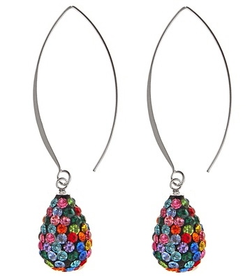 c2c9aee7ae07e 925 Sterling Silver Multi Coloured Swarovski Crystals Pear Earrings - Long  Findings