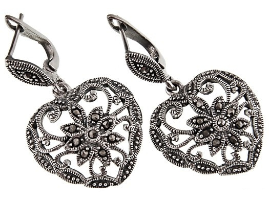 f1103ced2 Home > 925 Sterling Silver > Earrings · 925 Sterling Silver Vintage Heart  Shaped Marcasite Earrings