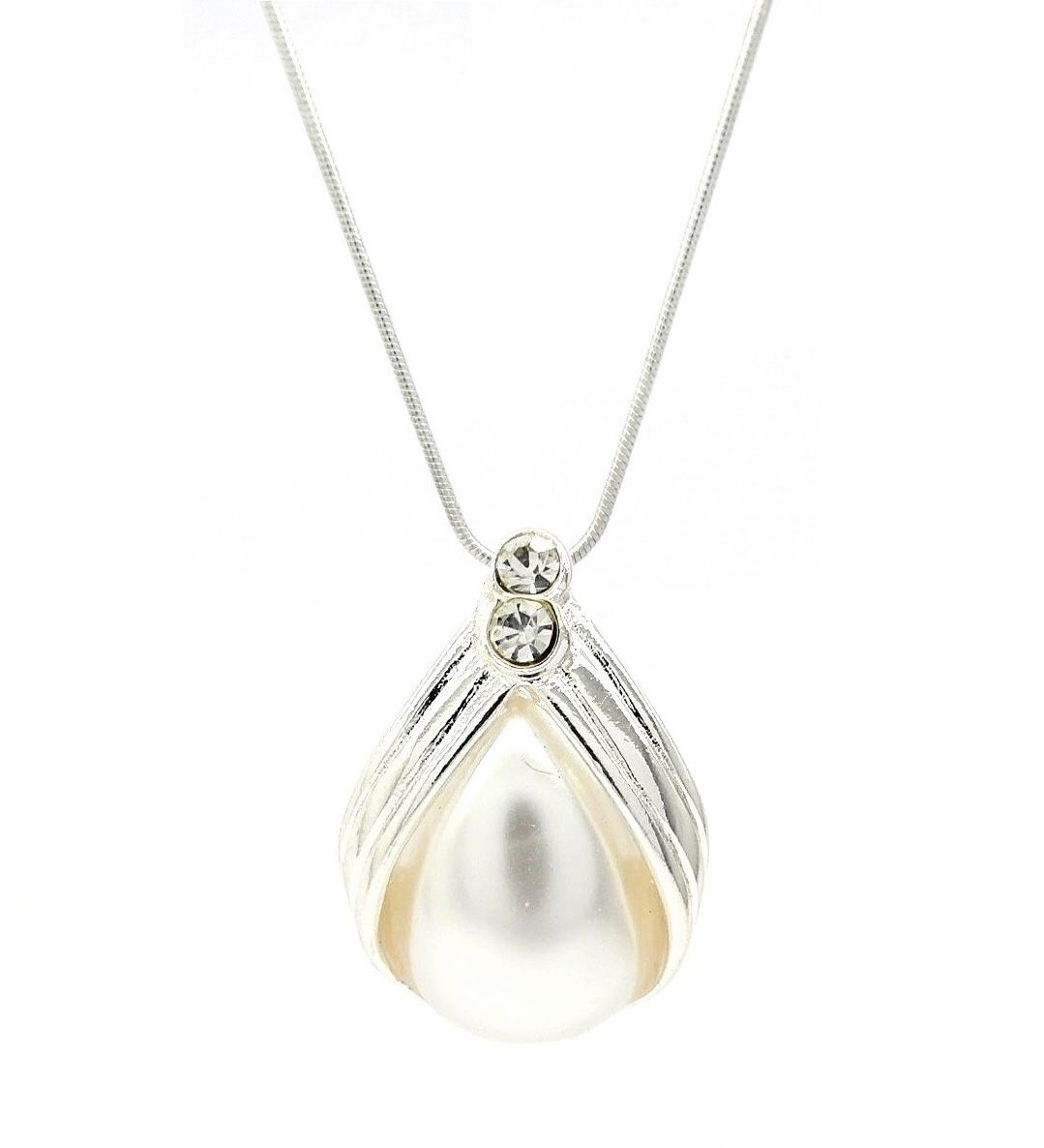 Bridal simple contemporary pearl pendant necklace great gift idea mozeypictures Image collections