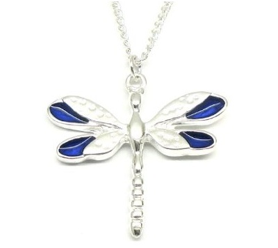 Navy Blue Enamel Wings Dragonfly Necklace