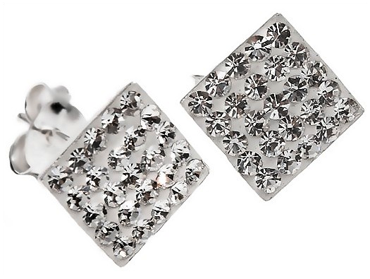 Pair of Discreet 7mm Sterling Silver Clear White Swarovski Crystal Square  Stud Earrings 7baa38a5eb46