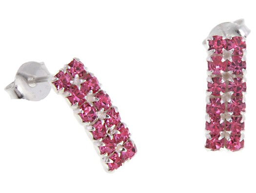 385e7c00e Small Discreet Sterling Silver Pink Crystal Curved Rectangle Stud Earrings