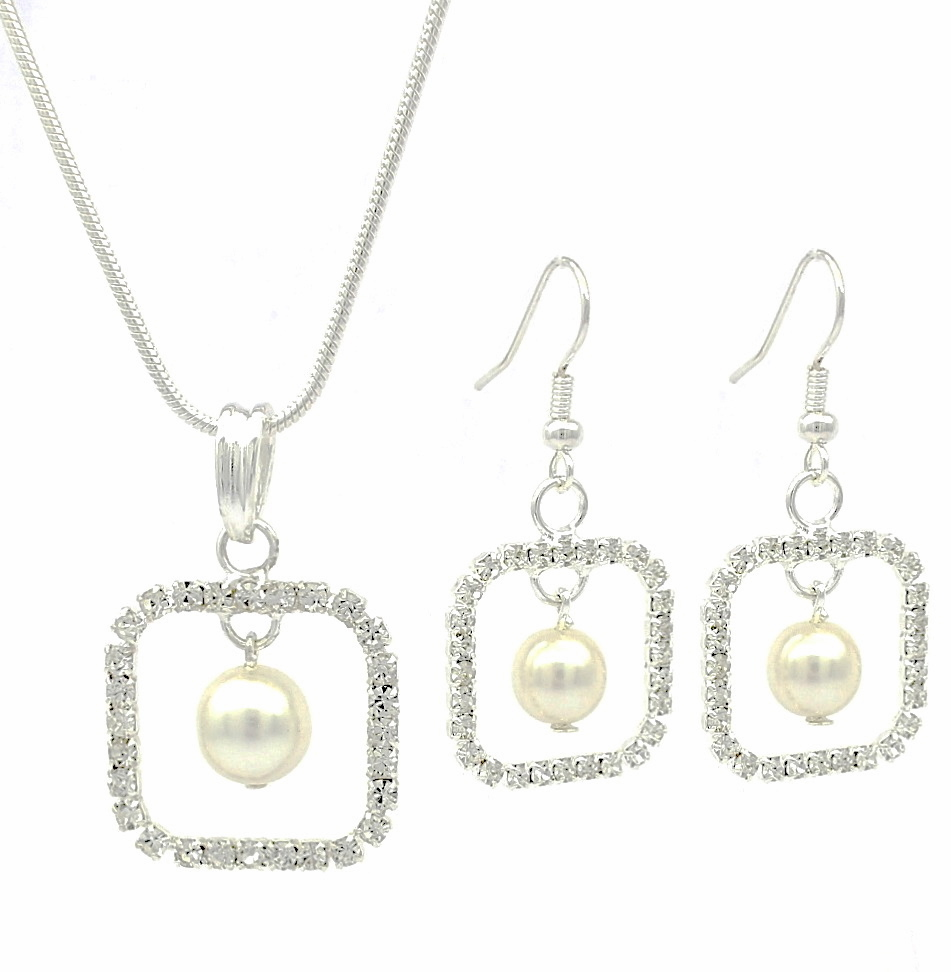 b73253b07 Swarovski Elements Sparkling Ladies Square Diamante Pearl Drop Earrings &  Necklace Set - Bridal Prom Party Jewellery Perfect Gift Idea for Christma