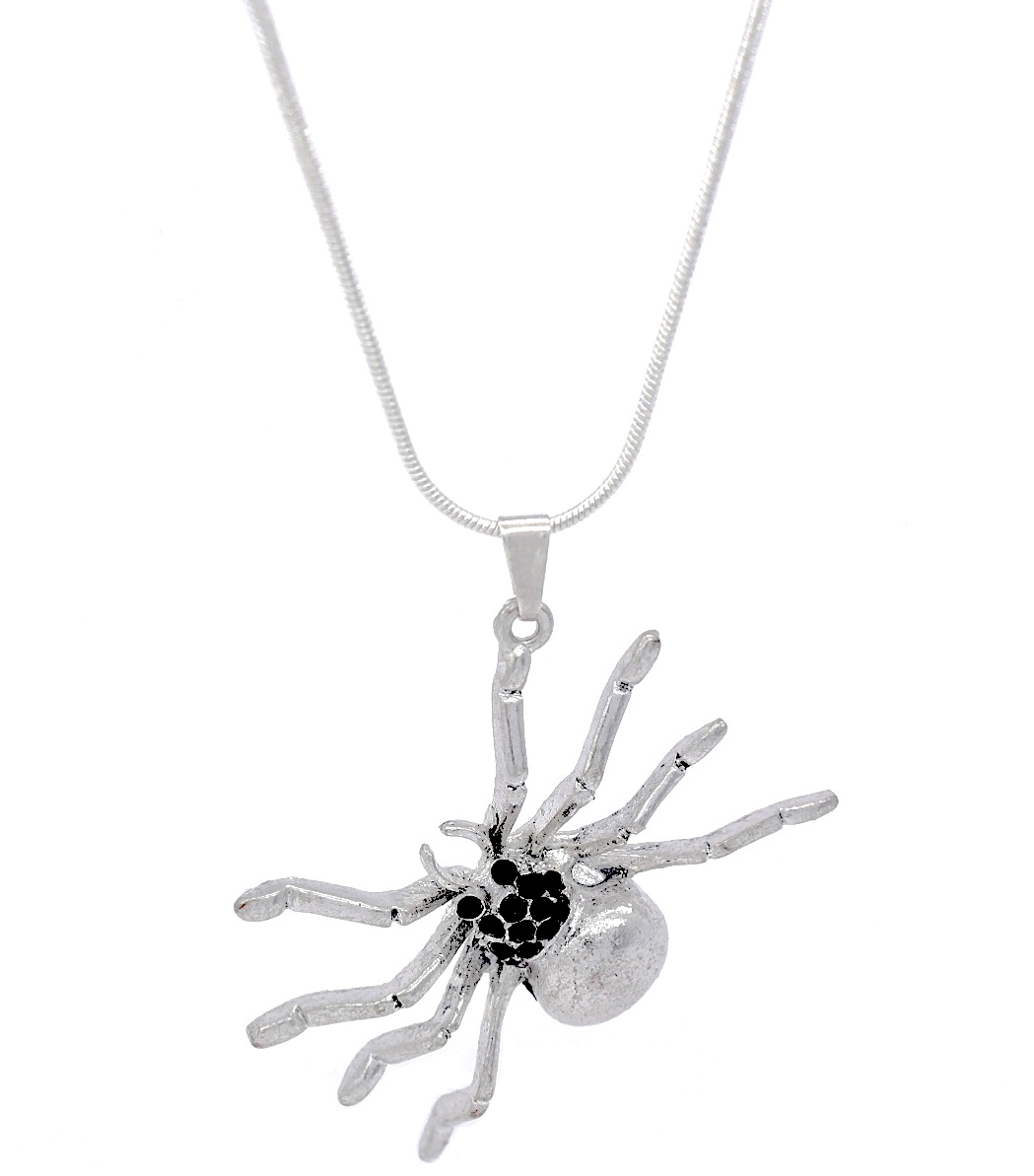 Vintage large black crystal spider pendant necklace aloadofball Image collections